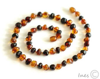 Baltic Amber Adult Necklace, Rounded Amber Beads, Polished Adult Necklace