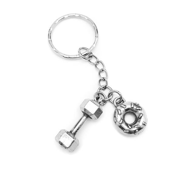 Will Lift for Donuts Dumbbell Key Chain - Fitness Accessories - Deadlift for Donuts - Lifting - Trainer - Workout - Cheatmeal Keychain