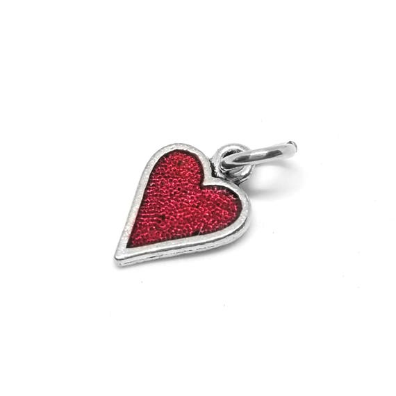 Red Heart Charm - Add a Charm to a Custom Charm Bracelets, Necklaces or Key Chains -  Nickel Free Charms