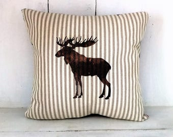 50 % OFF Moose pillow, christmas pillows, rustic holiday, rustic christmas,  holiday decor, moose, cabin pillows,woodland decor