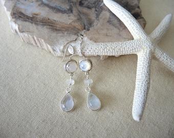 Moonstone Earrings, Mother Of Pearl Earrings, Sterling Silver Bezel Earrings, Moonstone Jewelry Gifts For Her, Mother Of Pearl Jewelry,