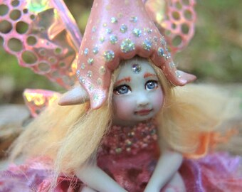 Cute and Tiny Pink Woodland Fairy Faerie || Celia Anne Harris || OOAK