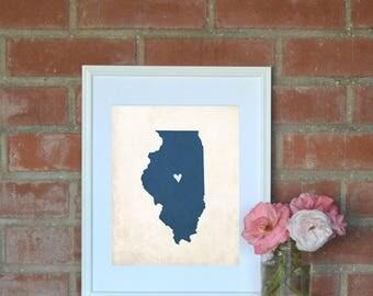 Illinois Rustic Map Print. Personalized Illinois State Map 8x10 Art Print. Housewarming Gift. Housewarming Art. Hometown Map. Home Art.