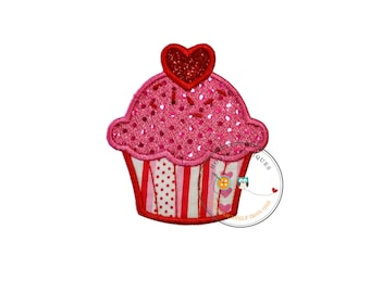 Sequin valentine personalize cup cake iron on applique, embroidered iron on patch for girls, ready to ship, iron on embellishment