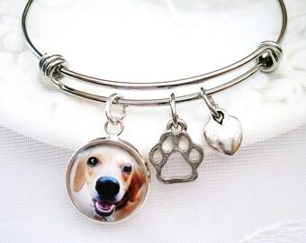 Pet Memory Bracelet Dog Memory Bangle Pet Photo Bracelet Dog Lover Gift for Cat Lover Paw Print Charm Pet Memory Jewelry Loss of Pet