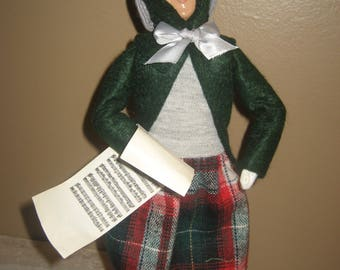 """Byers Choice Caroler - Woman with Joyeaux Noel Music 1996  - 11 """"Tall - Handcrafted in Chalfont, PA - American Made in USA"""