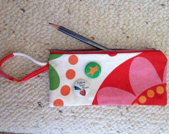 Floral Zip Bag Pencil Case Coin Purse Cotton Duck IKEA Fabric