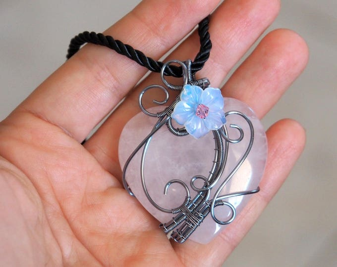 Rose quartz heart pendant with Opalite flower