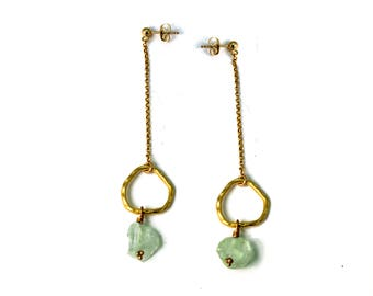 Raw Aquamarine Earrings. Long Post Earrings. Hoop and Chain Earrings. Rough Gemstone Studs. In Gold or Silver. E-2411