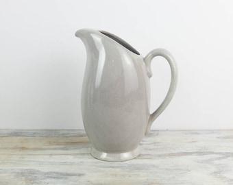 Santa Anita Ware California Pottery Ceramic Pitcher Light Grey Modern Speckled Dinnerware Mid Century Vintage