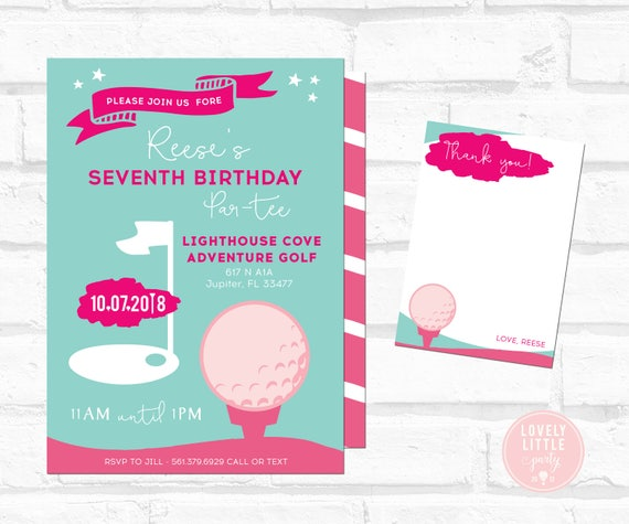 Putt Putt Birthday Invitation, Girl Putt Putt, Girl Golf Birthday, Golf Birthday Invitation Kit - Invite AND Thank You Card included