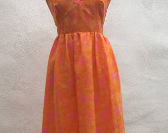 Vintage custom made Chiffon long dress lined neon orange Sz 8/10