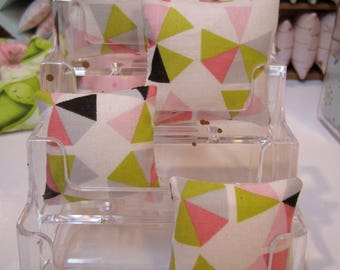Miniature Pillows for use in 1:12th or 1/6th scale in Mid Century Modern Geometric pattern pink and green version