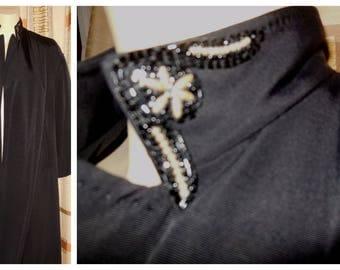 Vintage 1950s Coat Lightweight Black Beaded Evening Coat Clutch Coat Elegant Beaded Collar Embroidered Lining Rockabilly Audrey M