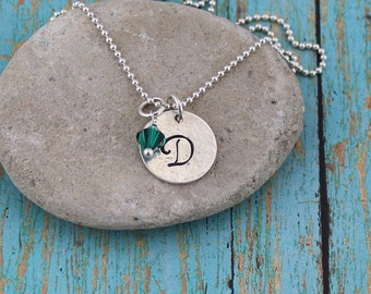 Script Initial Pendant, 14K Gold Filled or Sterling Silver, w/Birthstone Crystal Accent on 16 to 24-in. Bead or Box Chain; Everyday Necklace
