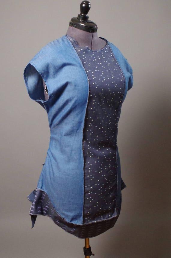 ON SALE Summer Denim Dress Tunic - Geometric Summer dress tunic - Street wear - Casual Summer Dress - Large