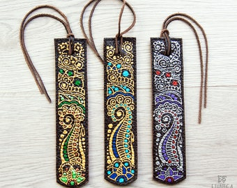 Leather bookmark with indian mehendi, unique gift idea for book lovers, beautiful accessories