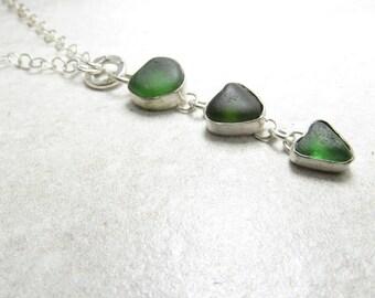 Triple green heart beach glass necklace