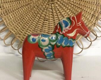 Cheval de Dala suédois Vintage en bois peint, cheval Nils Olsson, Cheval de Dalécarlie, déco gypsy,Dalarna scandinave cheval,Dalahorse