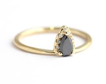 Black Diamond Pear Engagement Ring - Black Diamond Ring - Diamond Ring - 18k Gold