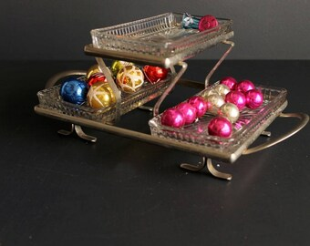 Vintage Metal and Pressed Glass Relish Tray Three ( 3 ) Tier Mid Century Snack Server Butler