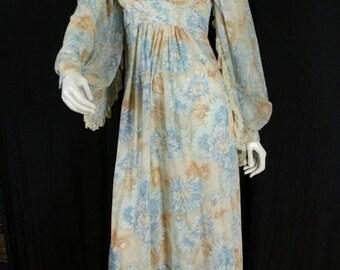 70s romantic dresses Vintage bohemian clothing Floral maxi dress Boho summer dress High waist long sleeve Hippie semi sheer wedding dress XS