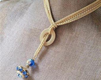 Sapphire Blue Lariat Necklace Long Wrap Necklace, Brilliant Blue Crystal Vintage Button Necklace, Button Jewelry veryDonna