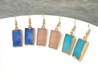 50% OFF Reflection Druzy Drop Earrings, Gemstone Earrings, Gold Earrings, Wedding Earrings, Bridesmaid Earrings, Druzy Quartz, Raw Stone,