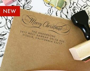 Merry Christmas Return Address Stamp, Holiday Address Stamp, Self Inking Return Address Stamp, Christmas Greeting Card Address Stamp (T499)