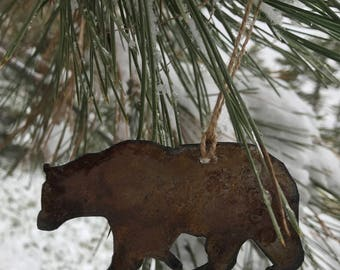 "Single or Set of 3...Rusty Metal BEAR Ornament(s)- Rustic - 4"" tall"