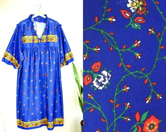 AMAZING 60s kaftan // vintage house robe duster // retro floral print maxi dress