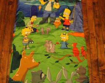 the simpsons sleeping bag childrens blanket homer marge bart lisa maggie camping twin