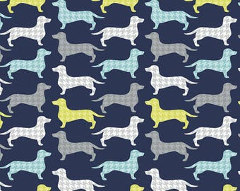 "Dachshunds-tooth in Dark Blue, Hounds tooth Dachshunds, Camelot Fabrics Quilting Cotton, 44"" Wide, by the half Yard"