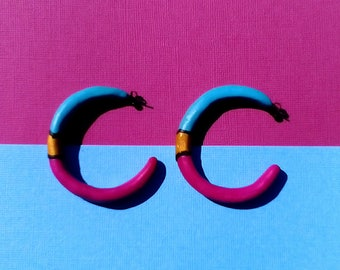 Pink and Blue Hoop Earrings with Gold detail