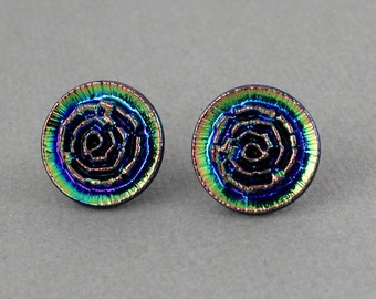 Rainbow Flower Bud - vintage glass button surgical steel post earrings, repurposed, up cycled jewelry