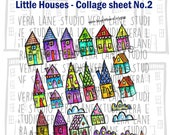 Little Houses - collorful collage sheet - PDF file for instant download