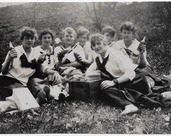 Old Photo Group of Women having Picnic each Holding Bottle of Soda Wood Box 1920s Photograph Snapshot vintage