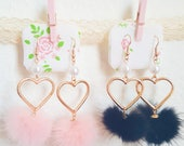 Choose A Color: Heart Pom Pom Earrings