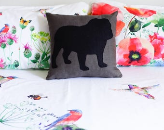 English Bulldog pillow cover, brown and black, dog pillow, decorative pillow, sofa pillow, valentine's day gift, cushions