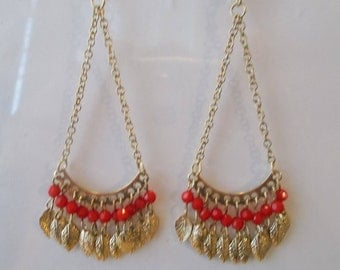 Gold Tone Chain Earrings with Red Beads and Gold Feather Charm Dangles