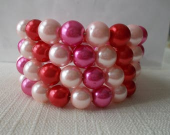 4 Row Red, Pail Pink and Pink Sea Shell Pearl Beads Memory Wire Cuff Bracelet