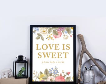 Love is Sweet Please take a Treat, Printable, INSTANT DOWNLOAD, Print at Home Favor Sign, Digital Art party decor – Everly