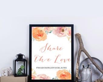 Wedding Hashtag Sign, Social Media, Photobooth, Instagram, Facebook, Twitter, Snapchat, Hashtag Signage - Madison