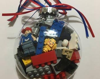 Pokemon minifigure with Lego® bricks and other building bricks and mini figure Christmas tree ornament