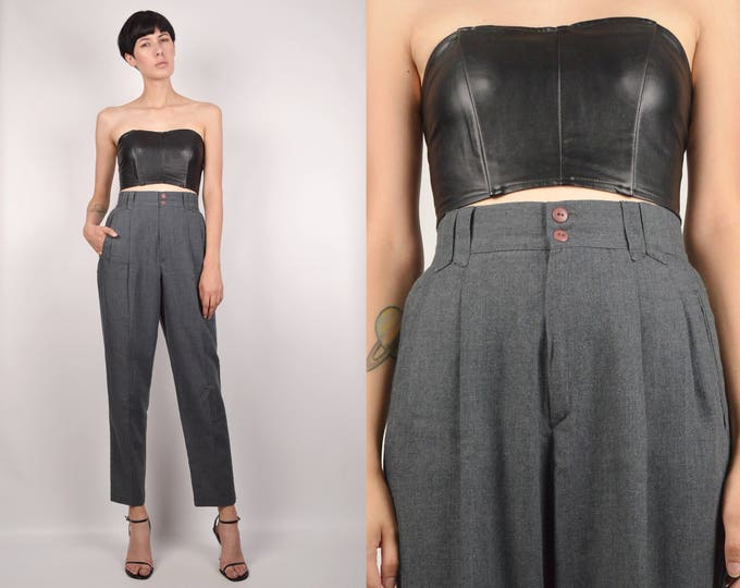 Vintage Gray High Waist Trousers minimalist pants