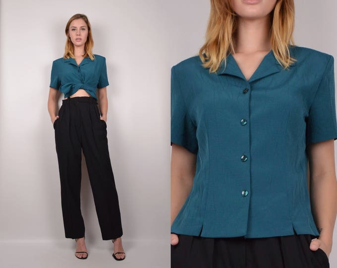 90's Teal Button Up Shirt / minimalist vintage