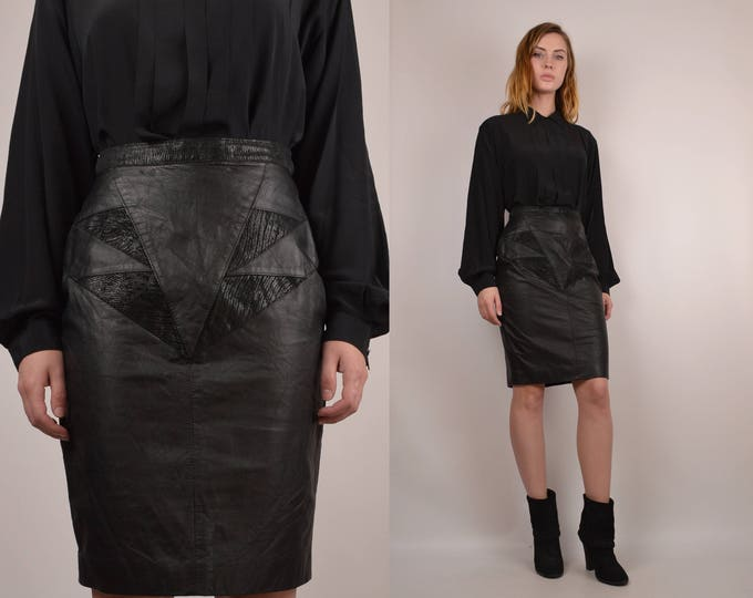 80's Leather High Waisted Pencil Skirt