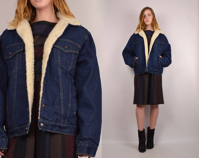 20% OFF  SALE 70's Shearling Lined Denim Jacket