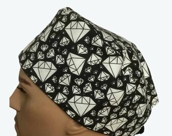 Unisex Scrub Cap - Big Diamonds on Black Scrub Hat-doctors -scrub tech caps - animal scrub hat - Vet Tech Scrub Hat - Custom Scrub Cap