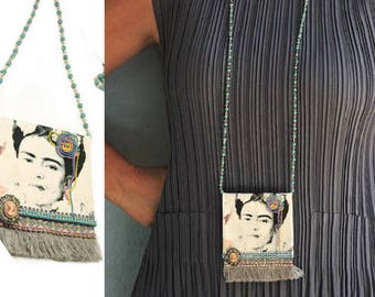 Long Upcycled Jewelry, Frida Kahlo Necklace, Fabric Necklace, Pendant Necklace, Fringe Necklace, Long Beaded Necklace, Boho Style, OOAK